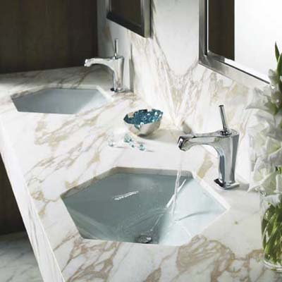 votive undermount sink has a unique shape that would fit well in either a spa or guest bath