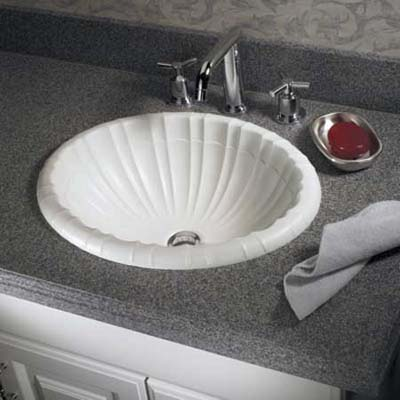 whimsical sink made of solid surfacingso its color cannot be worn away