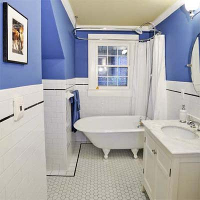 cottage bathroom with black and white floor tile