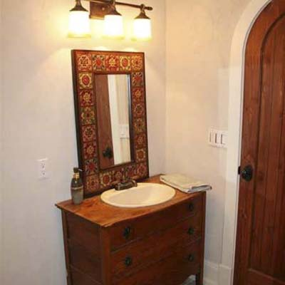 colorful spanish style bathroom after