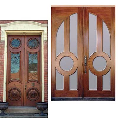 double doors with portholes surrounded by arched windows