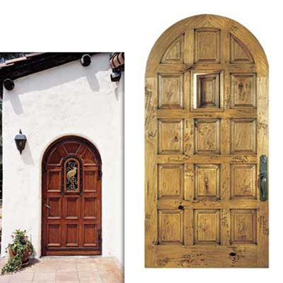 multipaneled arched-top door