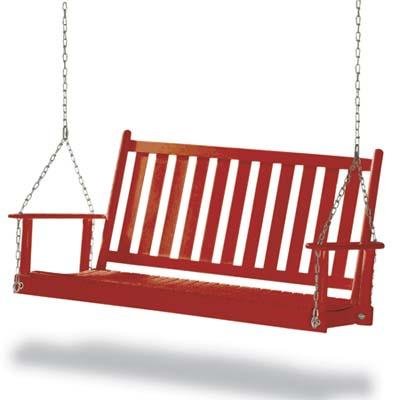 a hardwood porch swing