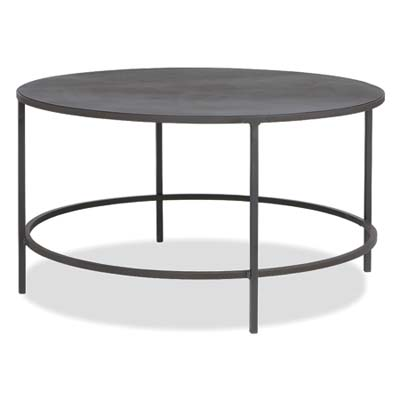 a low, round, steel coffee table