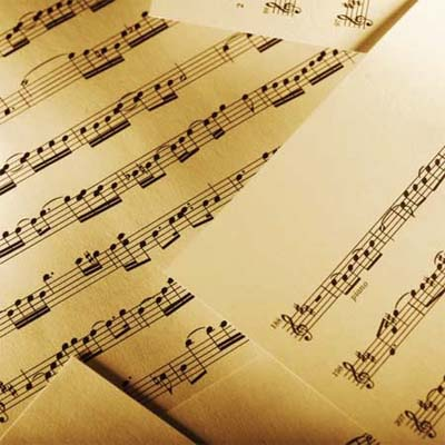 jumble of sheet music pages