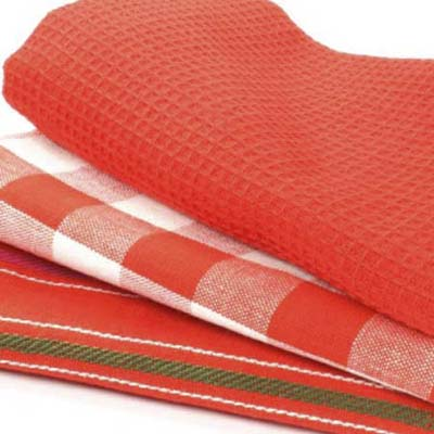 stack of dish towels in holiday colors