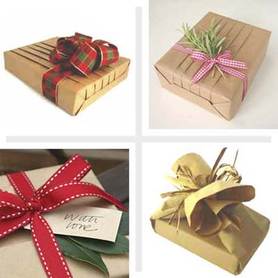 four examples of brown paper used for gift wrap