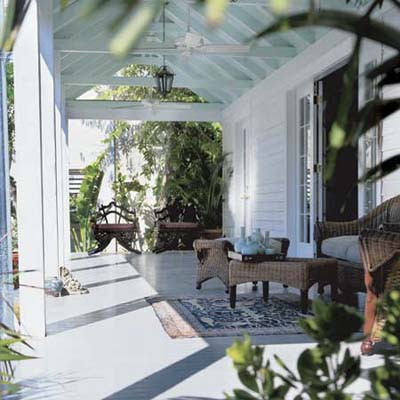 a spacious covered porch at the Key West TV Project from 1999