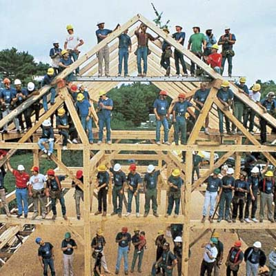 barn raising at the Concord TV Project from 1989
