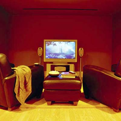 media room converted from a basement at the Winchester TV Project from 2002