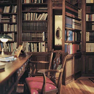 library with concealed powder room door at the Tucson TV Project from 1997