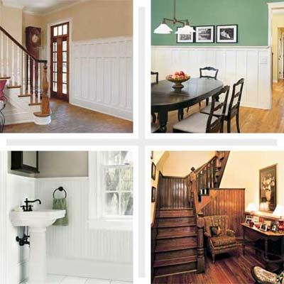 composite of four interiors that use wainscoting