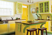 bold kitchen painted with yellows of equal intensity