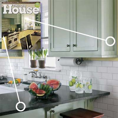 shaker-style green cabinets and black-granite countertops inspired by a cover of this old house magazine