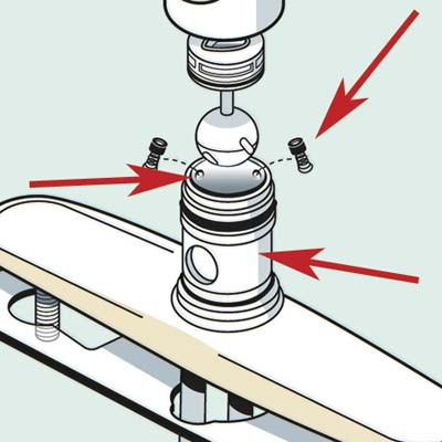 kitchen faucet with emphasis on the seats, springs and faucet body