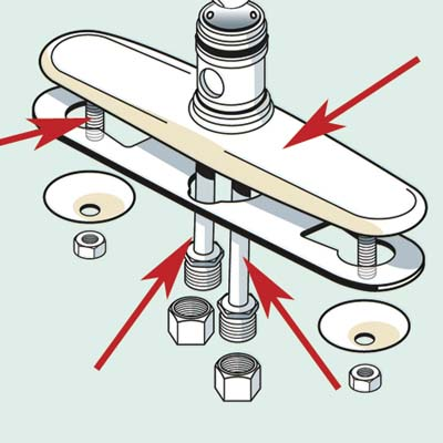 kitchen faucet with emphasis on the escutcheon, water supply lines and mounting bolt