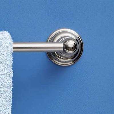 close up of symmons towel bar showing off design and materials
