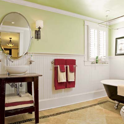bungalow's laundry room after renovation into new guest bathroom