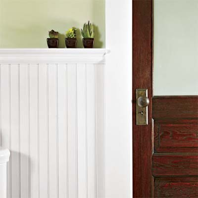 guest baths beadboard wainscoting