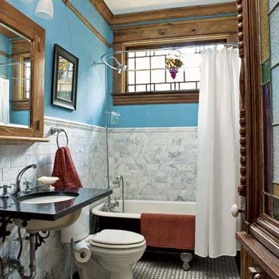 remodeled bathroom featuring original detail, modern upgrades,  wood trim