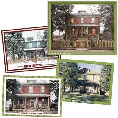 four pictures of the remodel house at various stages of the owners history that she once used as holiday cards