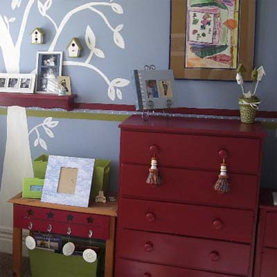 mismatched bedroom furniture painted a matching red color