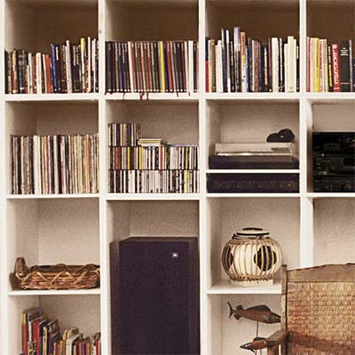 vertical dividers built into a bookcase under a staircase