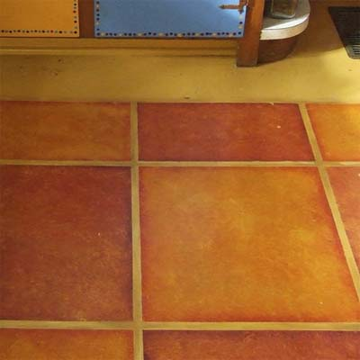 painted vinyl floor tiles brighten up this colorful kitchen
