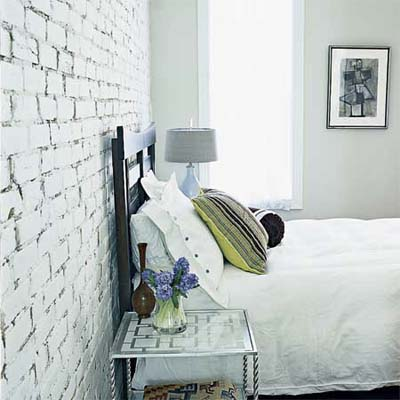 whitewashed brick interior bedroom wall