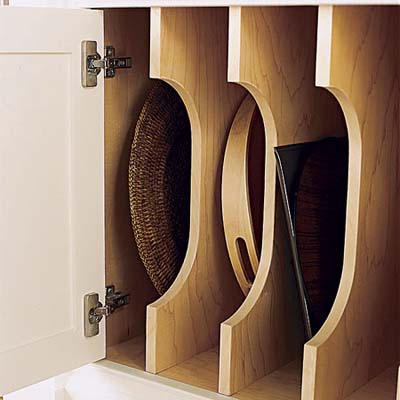 Vertical plywood dividers store baking sheets and trays