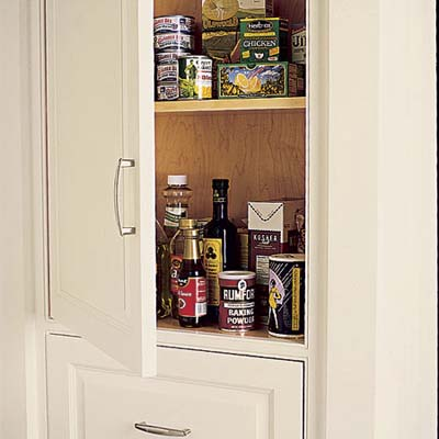 Range-side cabinet for cooking supplies