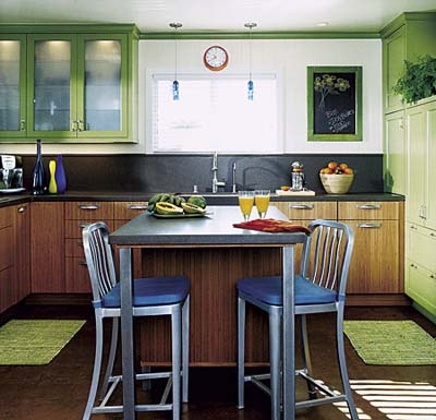 bright green kitchen with retro metal breakfast bar and chairs