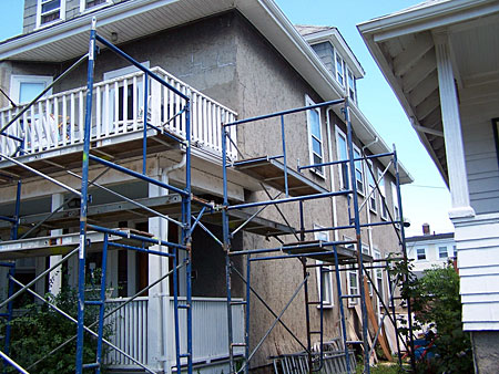 stucco repair scaffolding