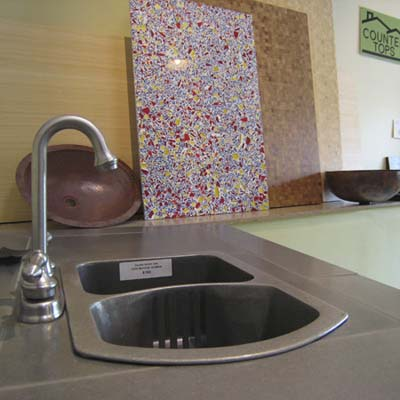faucet and counter tops at Natural Built Home green showroom