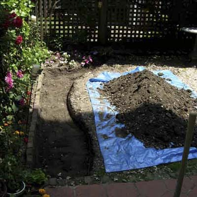 A garden under construction, with plant beds dug out