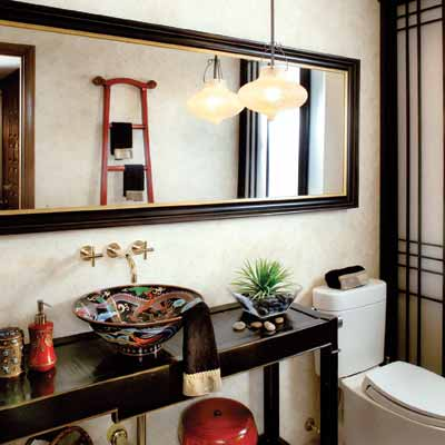 Japanese zen bathroom design home design for Small japanese bathroom design