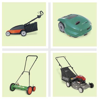 four different lawn mowers