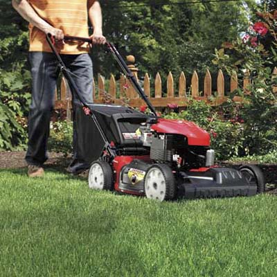 man mowing the lawn near flower bed