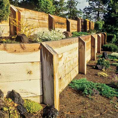a timber retaining wall