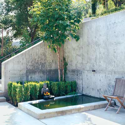 a poured concrete retaining wall