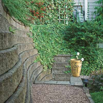 a concrete block retaining wall