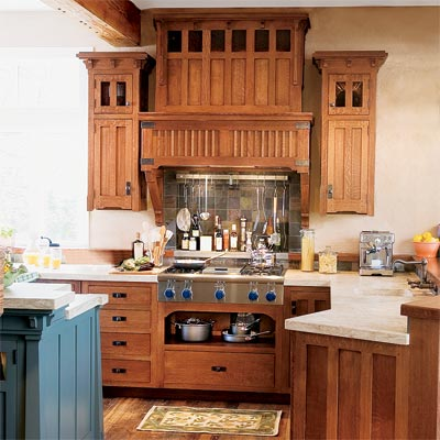 See how you can combine cabinets in quarter sawn oak with for Arts and crafts kitchen design ideas