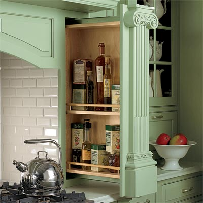 slide out spice rack designed using kitchen cabinets