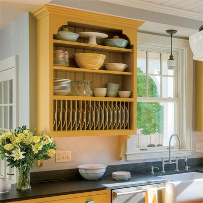 open shelves designed using kitchen cabinets