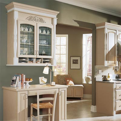 work station designed using kitchen cabinets