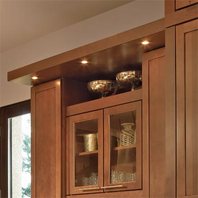 lighted soffit designed using kitchen cabinets