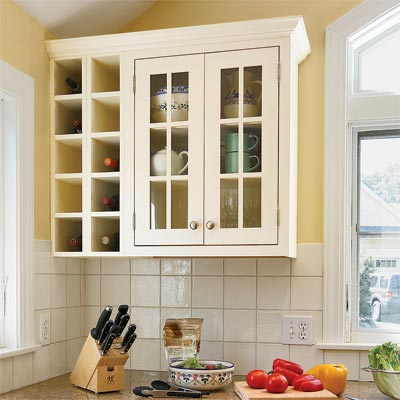 wine storage designed using kitchen cabinets