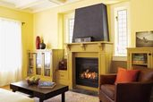 a Craftsman-style gas fireplace from Majestic Products
