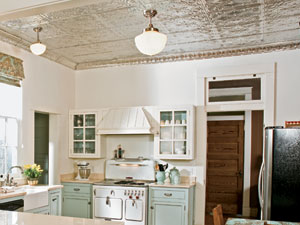 tin ceiling installed in a retro look kitchen