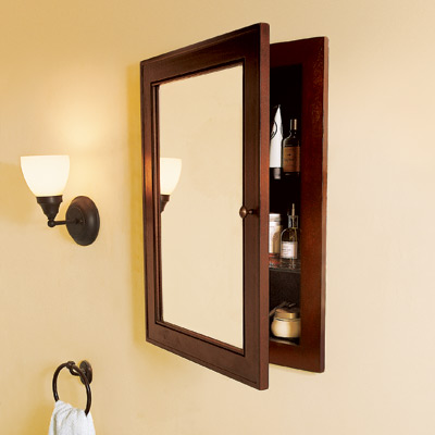 recessed medicine cabinet in bathroom